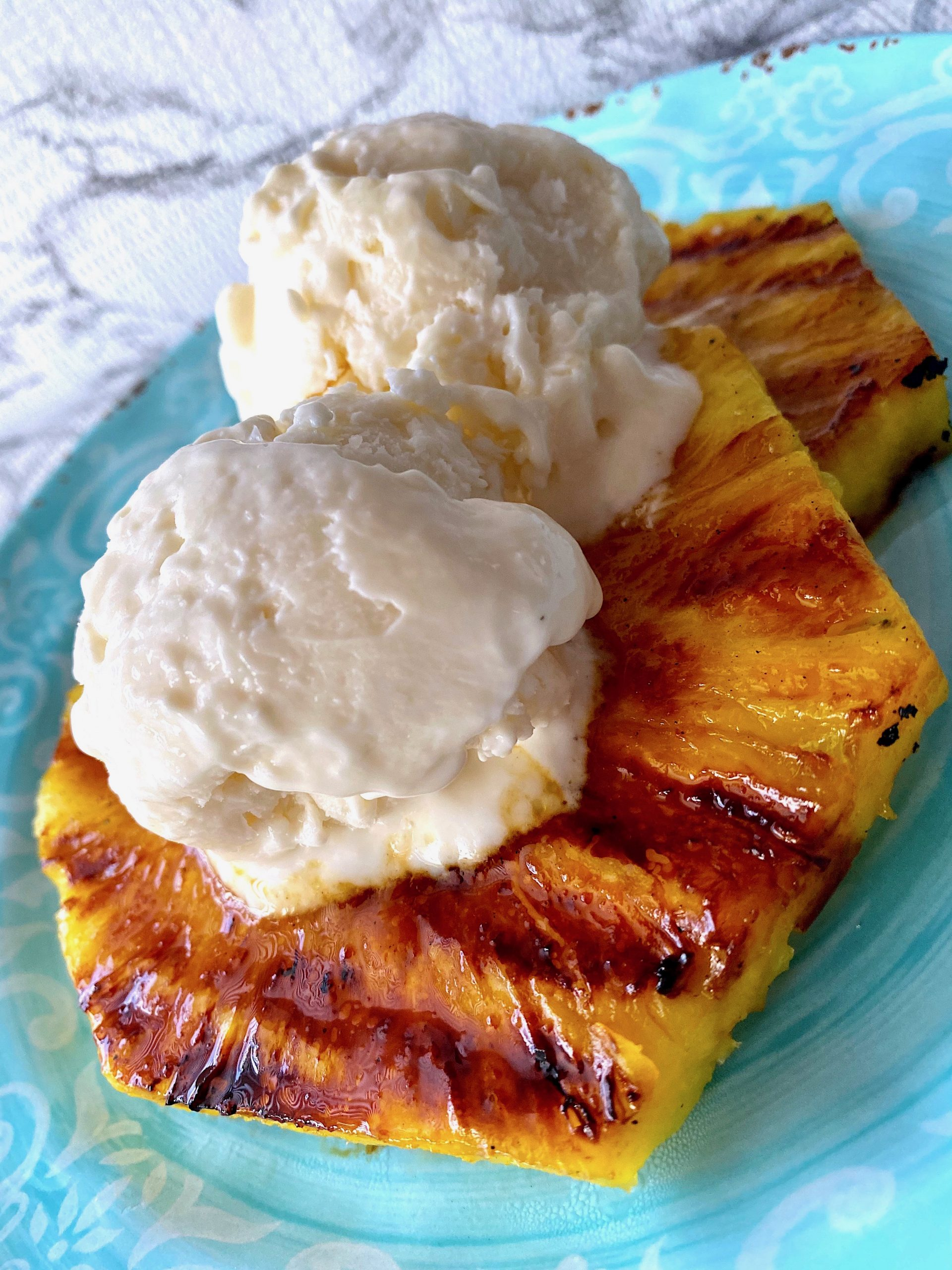 grilled pineapple with yogurt sorbet