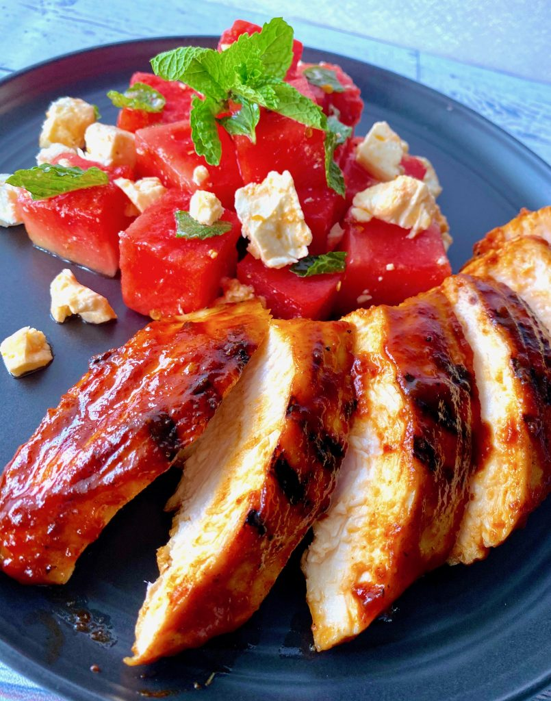 bbq chicken with watermelon salad